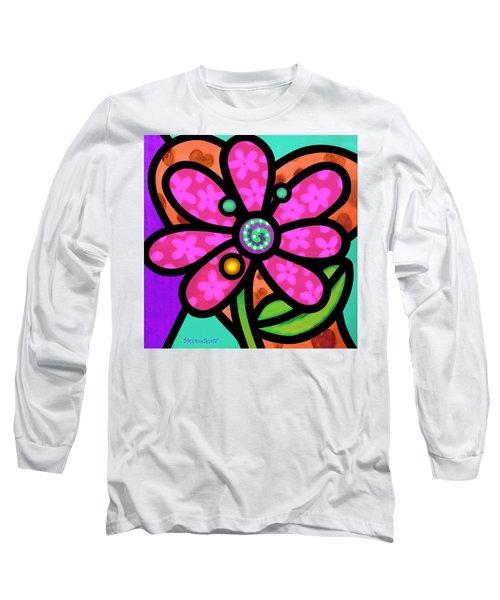 Pink Pinwheel Daisy Long Sleeve T-Shirt