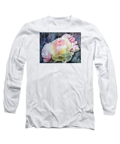 Pink Yellow Rose Angela Long Sleeve T-Shirt by Greta Corens