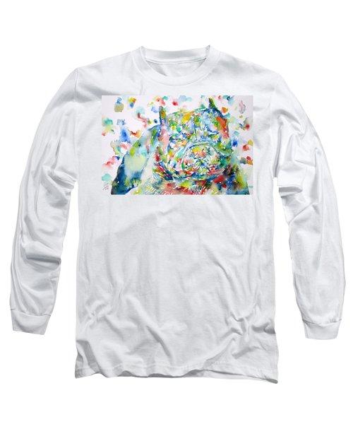 Pit Bull - Watercolor Portrait Long Sleeve T-Shirt