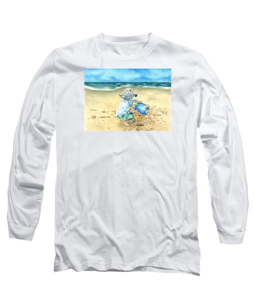 Long Sleeve T-Shirt featuring the drawing Playing On The Beach by Troy Levesque