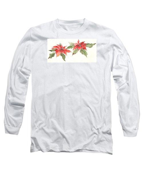 Poinsettias Long Sleeve T-Shirt by Christine Lathrop