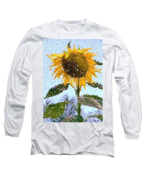 Pointillist Sunflower In Sun City Long Sleeve T-Shirt by Barbie Corbett-Newmin