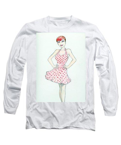 Polka Dot Pink Long Sleeve T-Shirt by Jimmy Adams