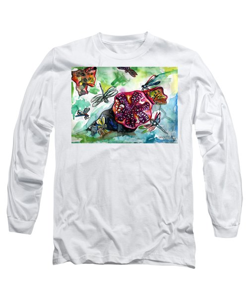 Pomegranate And Dragonflies Long Sleeve T-Shirt