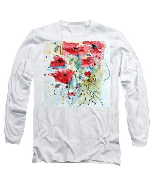 Long Sleeve T-Shirt featuring the painting Poppies 04 by Ismeta Gruenwald