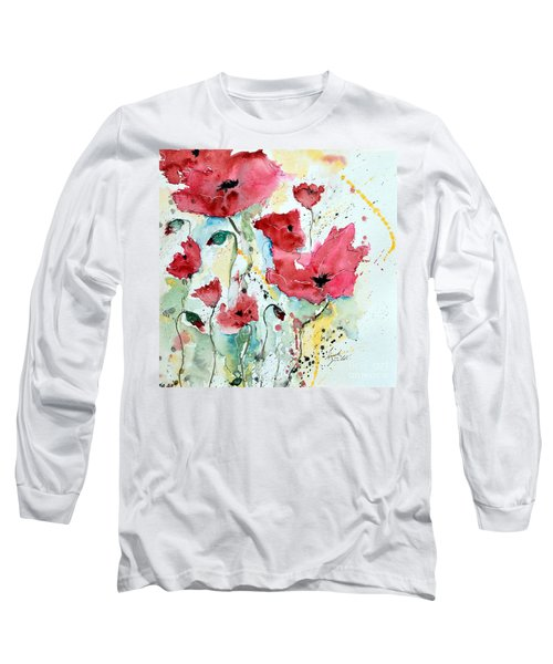 Long Sleeve T-Shirt featuring the painting Poppies 05 by Ismeta Gruenwald