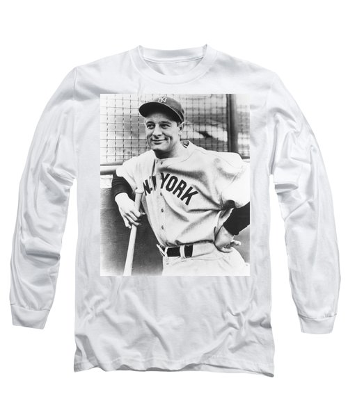 Portrait Of Lou Gehrig Long Sleeve T-Shirt