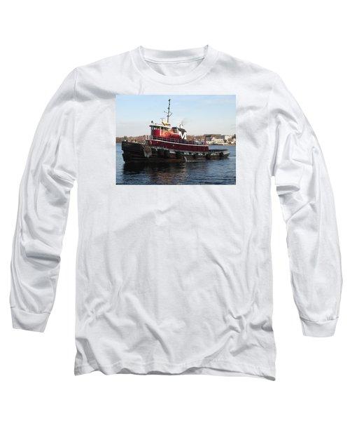 Portsmouth Harbor Tug Boat Winter Long Sleeve T-Shirt