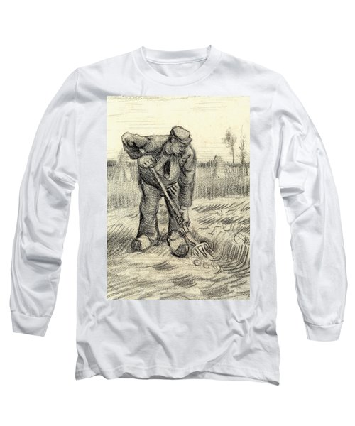 Potato Gatherer Long Sleeve T-Shirt by Vincent Van Gogh