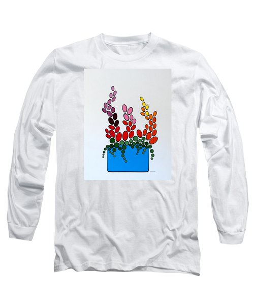 Long Sleeve T-Shirt featuring the painting Potted Blooms - Blue by Thomas Gronowski