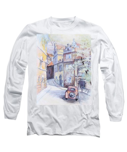 Long Sleeve T-Shirt featuring the painting Prague Golden Well Lane by Marina Gnetetsky