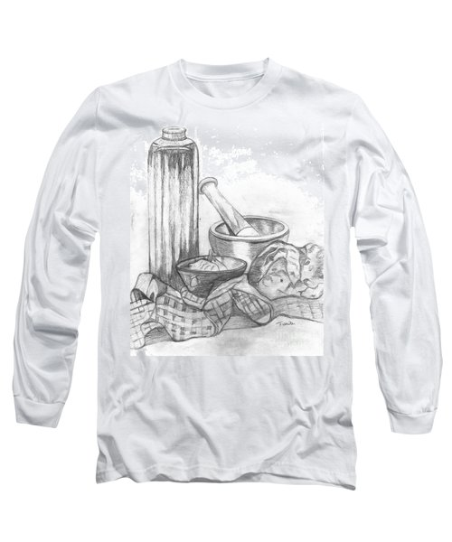 Long Sleeve T-Shirt featuring the drawing Preparing Starter Course by Teresa White