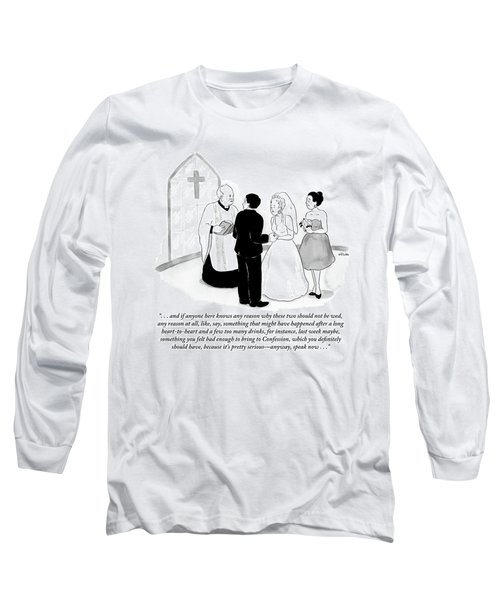 Priest Marries Man And Woman In Front Of A Large Long Sleeve T-Shirt