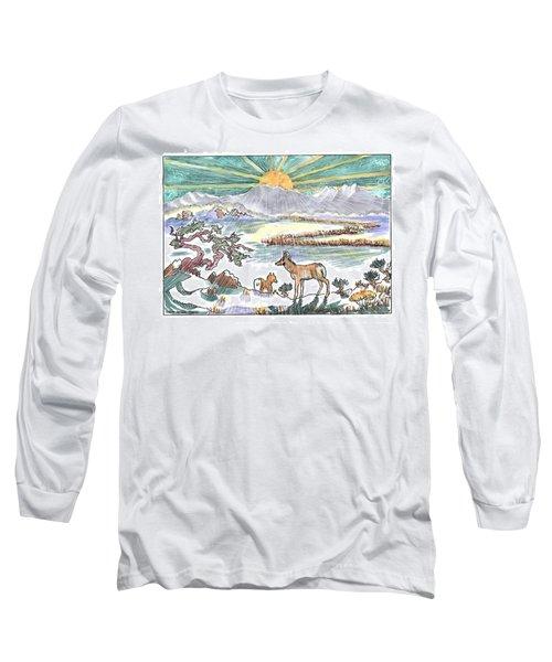 Pronghorn Winter Sunrise Long Sleeve T-Shirt by Dawn Senior-Trask