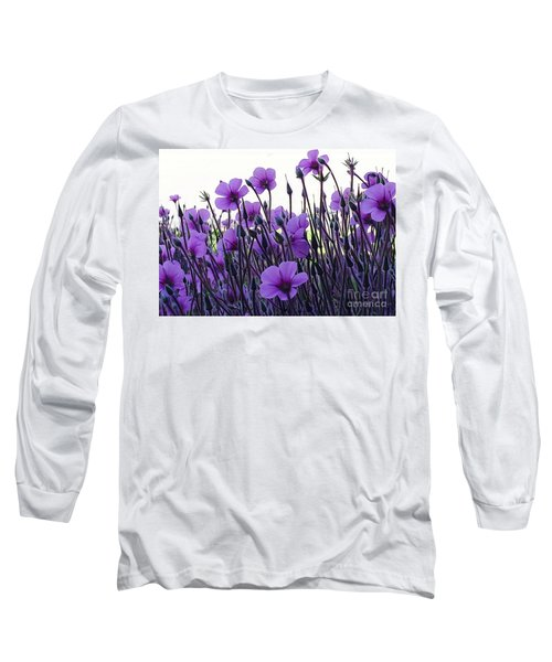 Long Sleeve T-Shirt featuring the photograph Purple Flowers Dance by Jasna Gopic