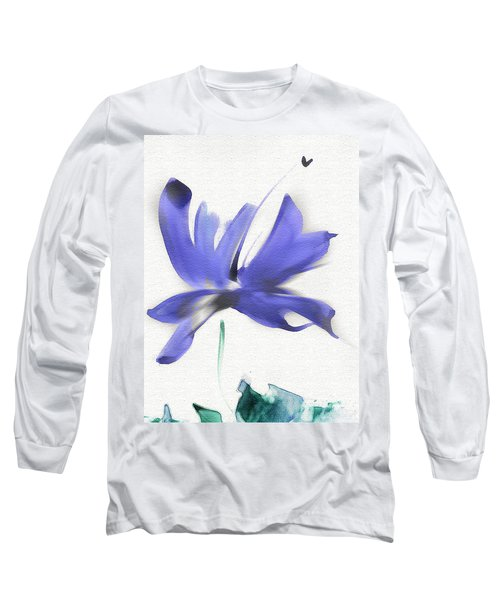Long Sleeve T-Shirt featuring the mixed media Purple Iris In The Greenery by Frank Bright