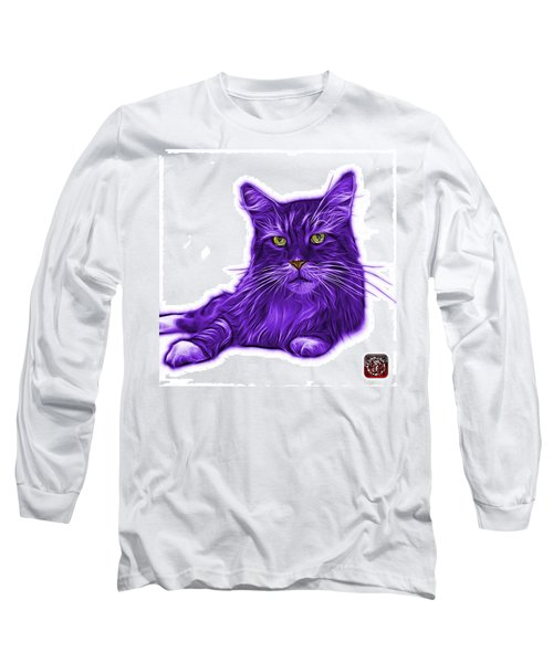 Purple Maine Coon Cat - 3926 - Wb Long Sleeve T-Shirt