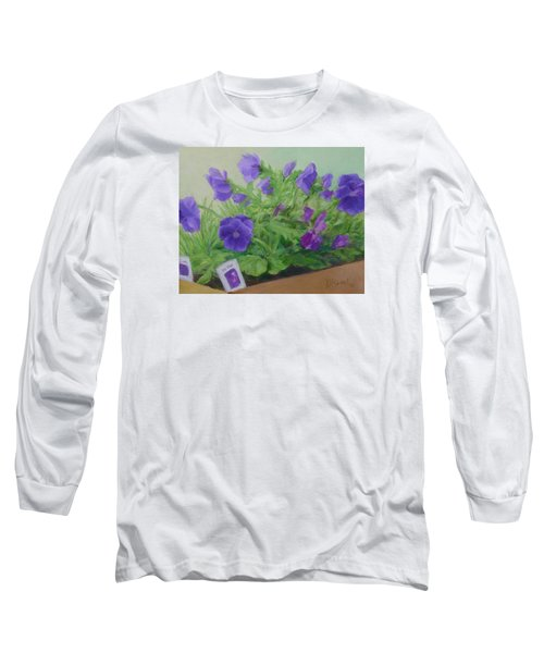 Purple Pansies Colorful Original Oil Painting Flower Garden Art  Long Sleeve T-Shirt