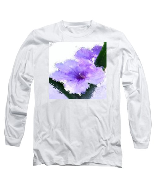 Purple Petunia Long Sleeve T-Shirt by Anthony Fishburne
