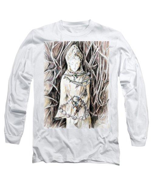 Quan Yin The Guide Through Entangled World Long Sleeve T-Shirt by Danuta Bennett
