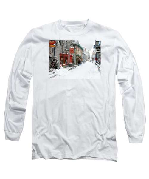 Quebec City In Winter Long Sleeve T-Shirt by Thomas R Fletcher