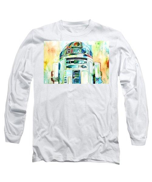 R2-d2 Watercolor Portrait Long Sleeve T-Shirt by Fabrizio Cassetta