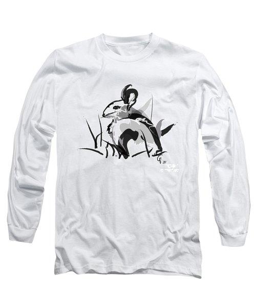 Rabbit Bunny Black White Grey Long Sleeve T-Shirt