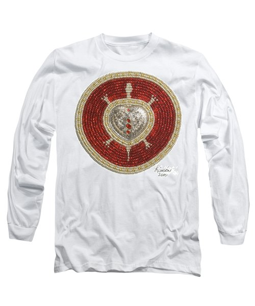 Silver And Gold Heart Turtle Long Sleeve T-Shirt