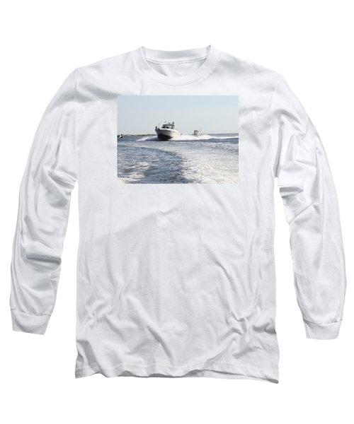 Racing To The Docks Long Sleeve T-Shirt by John Telfer