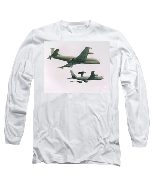 Long Sleeve T-Shirt featuring the photograph Raf Nimrod And Awac Aircraft by Paul Fearn