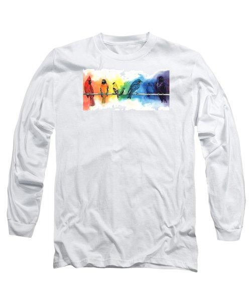 Rainbow Birds Long Sleeve T-Shirt by Antony Galbraith