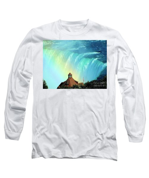 Long Sleeve T-Shirt featuring the photograph Rainbow Over Horseshoe Falls by Janette Boyd