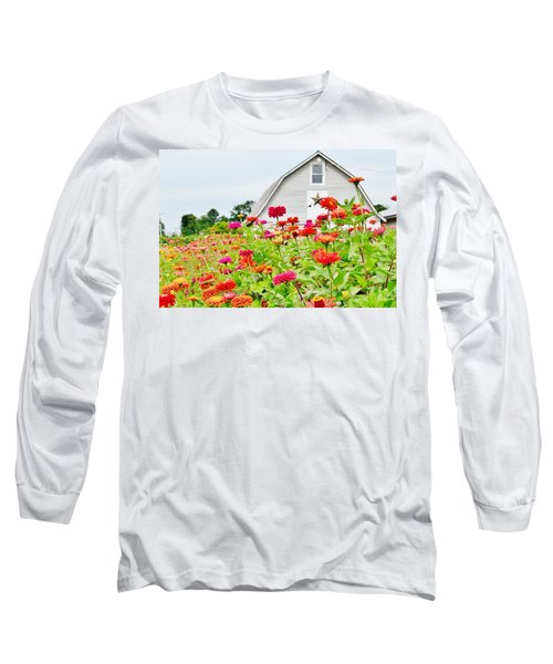 Long Sleeve T-Shirt featuring the photograph Raising Zinnia Flowers - Delaware by Kim Bemis