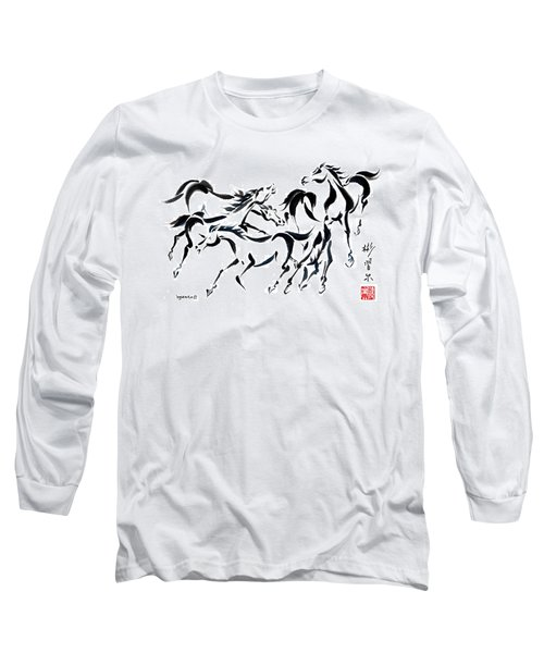 Long Sleeve T-Shirt featuring the painting Rambunctious by Bill Searle