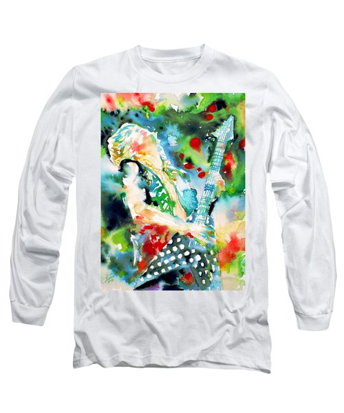 Randy Rhoads Playing The Guitar - Watercolor Portrait Long Sleeve T-Shirt