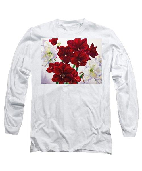 Red And White Amaryllis Long Sleeve T-Shirt