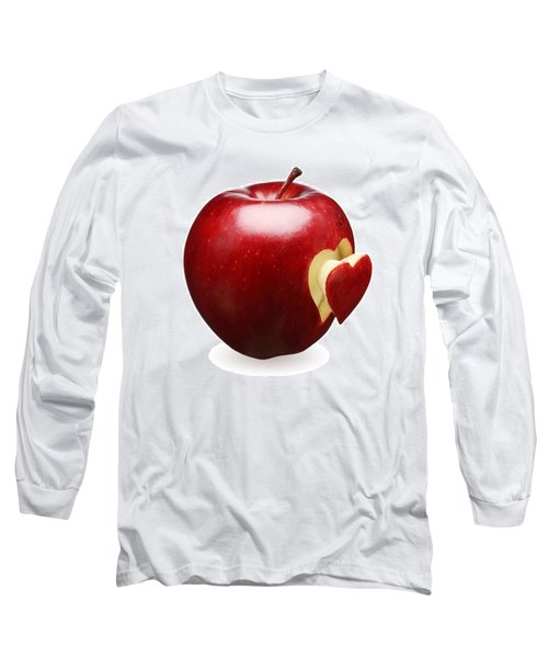 Red Apple With Heart Long Sleeve T-Shirt