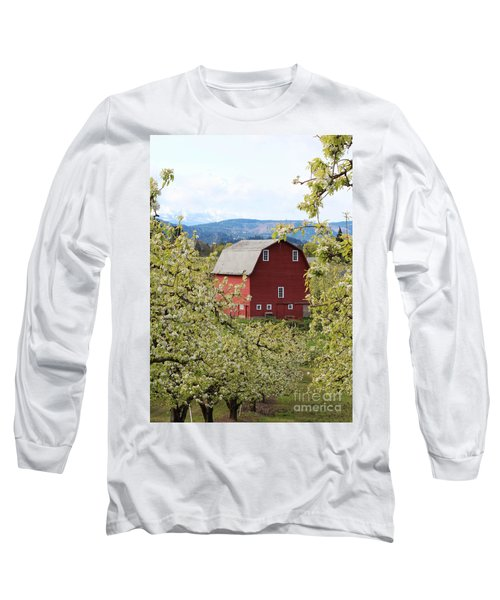 Long Sleeve T-Shirt featuring the photograph Red Barn And Apple Blossoms by Patricia Babbitt