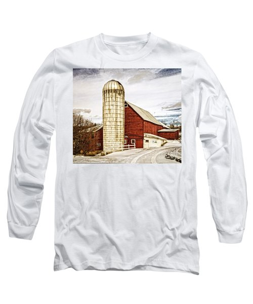 Red Barn And Silo Vermont Long Sleeve T-Shirt