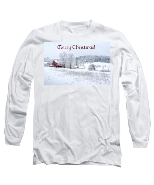 Red Barn Christmas Card Long Sleeve T-Shirt