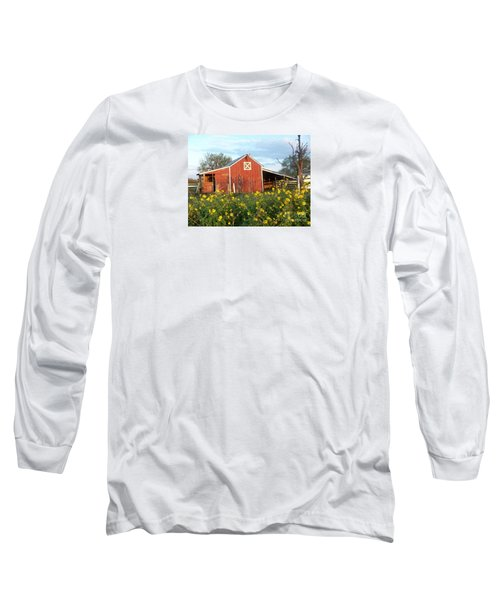 Red Barn With Wild Sunflowers Long Sleeve T-Shirt by Susan Williams