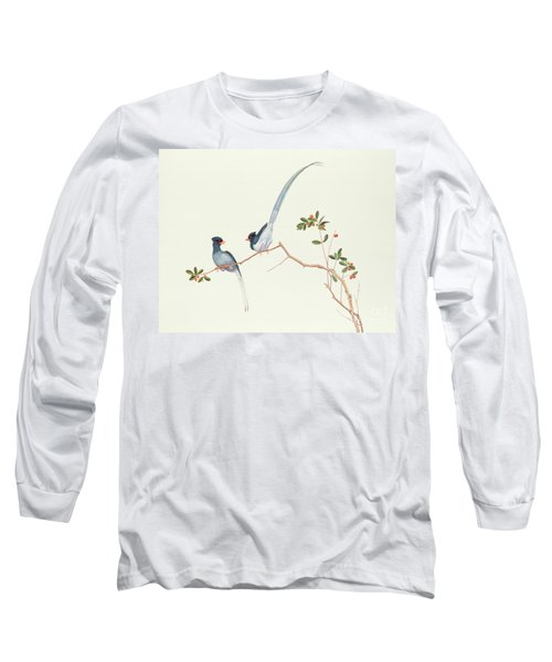 Red Billed Blue Magpies On A Branch With Red Berries Long Sleeve T-Shirt
