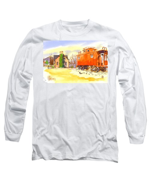 Red Caboose At Whistle Junction Ironton Missouri Long Sleeve T-Shirt by Kip DeVore