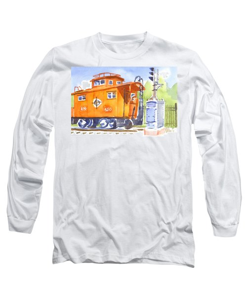 Red Caboose With Signal  Long Sleeve T-Shirt