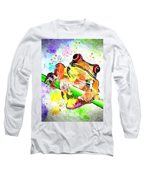 Red Eyed Tree Frog Grunge Long Sleeve T-Shirt