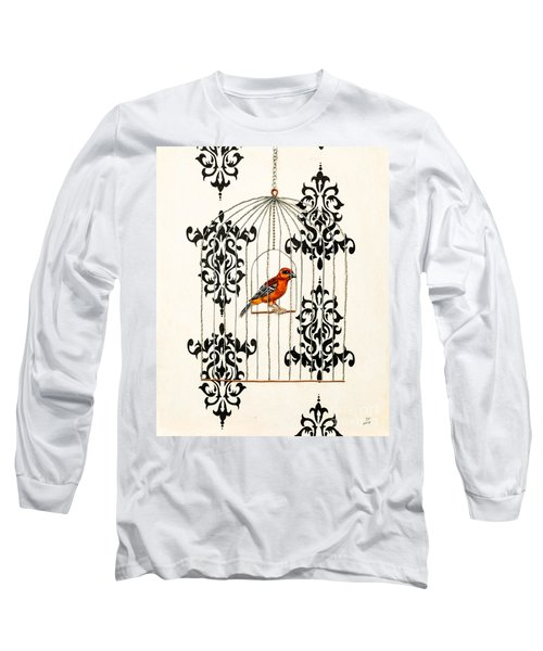 Red Finch Long Sleeve T-Shirt by Stefanie Forck