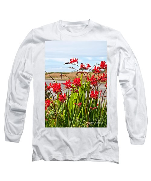 Red Flowers Crocosmia Lucifer Montbretia Plant Art Prints Long Sleeve T-Shirt