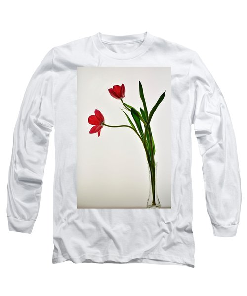 Red Flowers In Glass Vase Long Sleeve T-Shirt