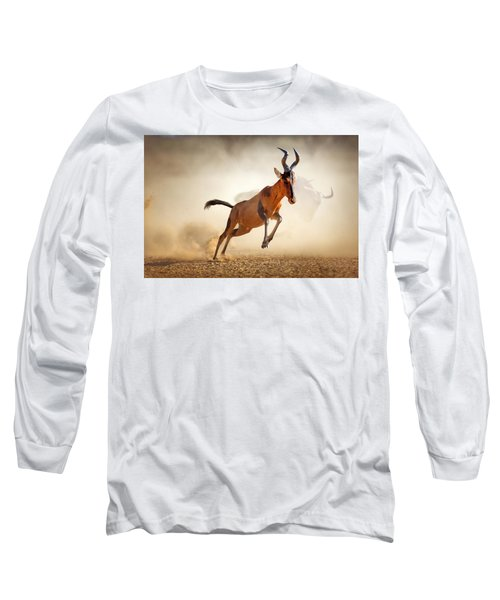Red Hartebeest Running In Dust Long Sleeve T-Shirt