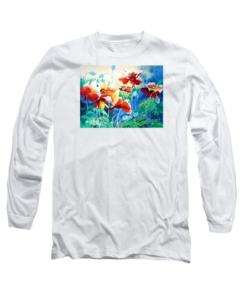 Red Hot Cool Blue Long Sleeve T-Shirt by Kathy Braud